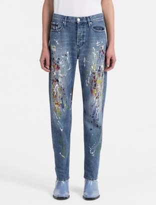 Calvin Klein straight leg high rise paint splatter jeans