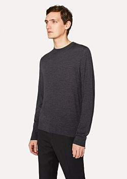 Paul Smith Men's Dark Grey Crew-Neck Merino Wool Sweater