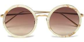 Linda Farrow Round-Frame Marbled Acetate Sunglasses