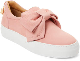 Buscemi Pale Pink Bow Leather Slip-On Sneakers