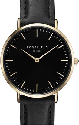 Tribeca ROSEFIELD Leather Strap Watch, 33mm