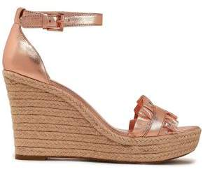 MICHAEL Michael Kors Ruffled Metallic Leather Espadrille Wedge Sandals