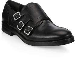 Alexander McQueen Triple Monk-Strap Leather Dress Shoes