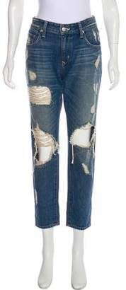 Lovers + Friends Mid-Rise Distressed Jeans