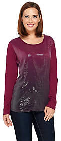 Kelly by Clinton Kelly Long Sleeve Sequin Tee
