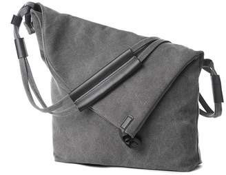 UniquQ Oversized Crossbody Bags Vintage Genuine Leather Trim Canvas Hobo Messenger Bag Shoulder Satchel Purse