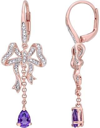 Laura Ashley Jewelry 0.70 cttw Amethyst & 1/10 cttw Diamond Earrings