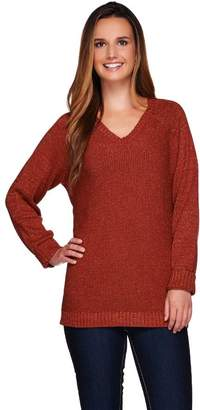 Denim & Co. Long Sleeve V-neck Sweater with Lurex