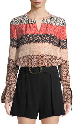 Derek Lam 10 Crosby Bell-Sleeve Button-Down Printed Silk Blouse