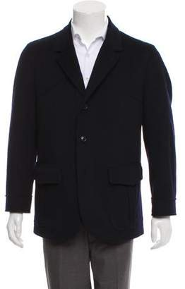 Luciano Barbera Leather-Trimmed Wool Jacket