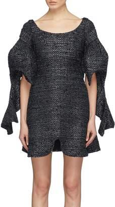 Ellery 'Cone Sisters' puff drape sleeve curve hem dress