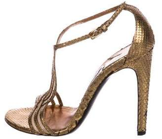 Tom Ford Snakeskin Metallic Sandals