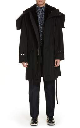 Dries Van Noten Verreli Hooded Parka with Faux Fur Trim