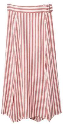 MANGO Striped linen-blend skirt