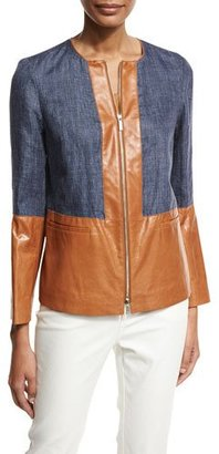 Lafayette 148 New York Isaiah Zip-Front Colorblocked Linen/Lambskin Jacket, Multi $748 thestylecure.com