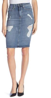 Good American High Waist Denim Pencil Skirt (Regular & Plus Size)