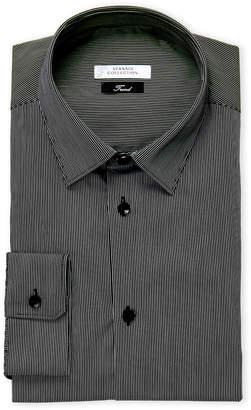 Versace Black & White Pinstripe Trend Fit Dress Shirt