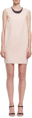 Lanvin Beaded-Neck Sleeveless Shift Dress, Light Pink