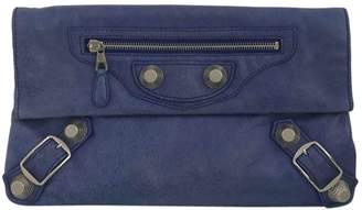 Balenciaga Envelop Blue Leather Clutch Bag