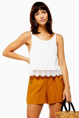 Topshop Womens White Scoop Embroidered Trim Camisole Top - White