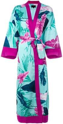 Iil7 lace up print kimono cardigan