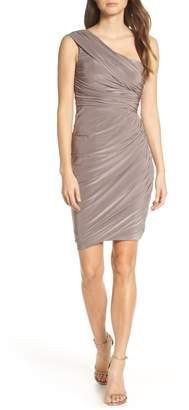 Eliza J Ruched One-Shoulder Dress