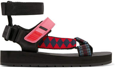 Prada - Canvas, Rubber And Leather Sandals - Black