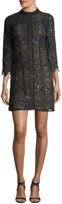 Aidan Mattox High-Neck Long-Sleeve Beaded Lace Cocktail Dress