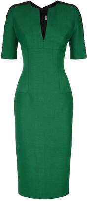 Amanda Wakeley Herringbone V-Neck Dress