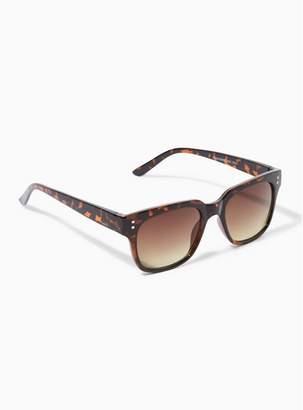 Topman Mens Brown Tortoiseshell Shiny 50S Sunglasses
