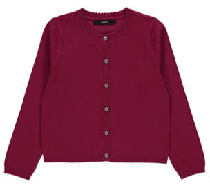 George Plum Scalloped Crew Neck Cardigan