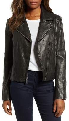 Andrew Marc Washed Nappa Leather Moto Jacket