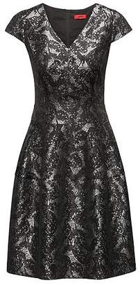 HUGO BOSS V-neck dress in patterned jacquard