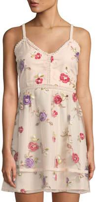 BB Dakota Gemma Floral-Embroidered Mini Dress