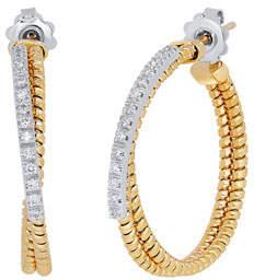 Milani Alberto Tubogas Two-Tone Hoop Earrings with Diamonds