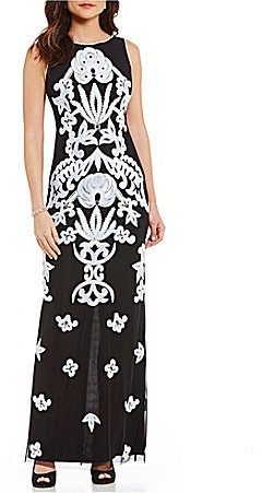 Adrianna Papell Adrianna Papell Beaded Square Neck Column Gown