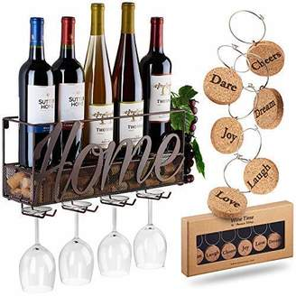 Wall Mounted Wine Rack | Bottle & Glass Holder | Cork Storage Store Red