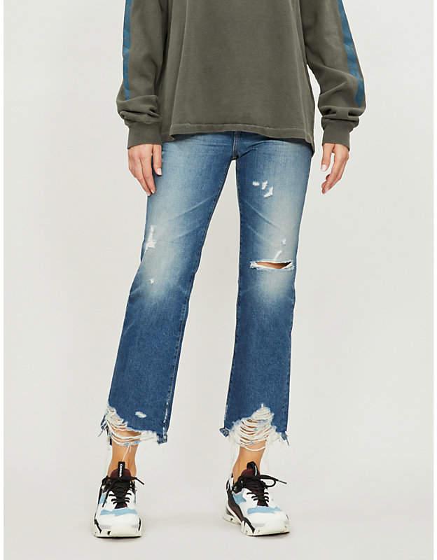 Frayed-hem cropped high-rise jeans