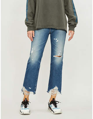 AG Jeans Frayed-hem cropped high-rise jeans