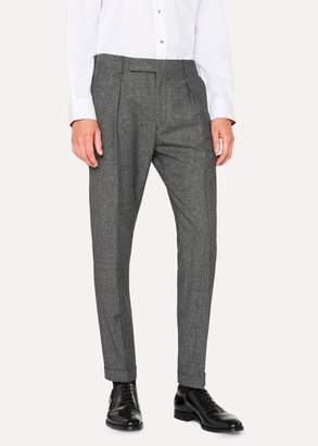 Paul Smith Men's Tapered-Fit Wool And Silk-Blend Grey Tweed Trousers
