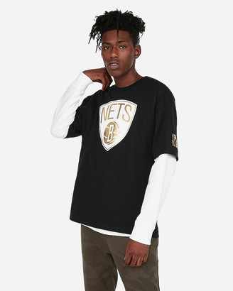 Express Brooklyn Nets Nba Heavy Weight Foil Graphic Tee