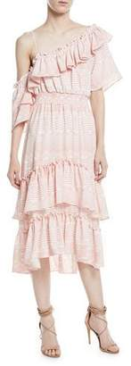 MISA Los Angeles Agata One-Shoulder A-Line Tiered Ruffles Chiffon Dress