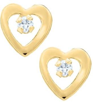 Infant Girl's Mignonette 14K Yellow Gold & Diamond Open Heart Earrings $129 thestylecure.com