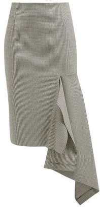 Balenciaga Houndstooth Wool Blend Godet Midi Skirt - Womens - Black White