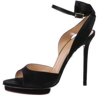 Charlotte Olympia Satin Peep-Toe Sandals
