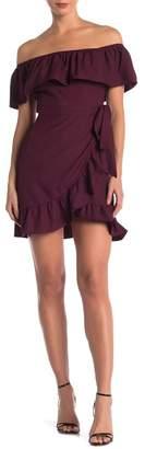 Dee Elly Off-the-Shoulder Ruffle Trimmed Wap Dress