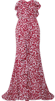 Oscar de la Renta - Strapless Ruffled Printed Silk Crepe De Chine Gown - Red $4,990 thestylecure.com