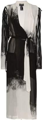 Ann Demeulemeester gradient print long sleeve silk robe jacket
