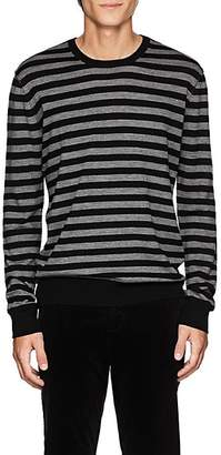 ATM Anthony Thomas Melillo Men's Striped Merino Wool Crewneck Sweater - Black