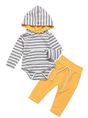 MOUSYA Infant Baby Boys Girls Autumn Outfit Striped Long Sleeve Hooded Romper Pants Set Size